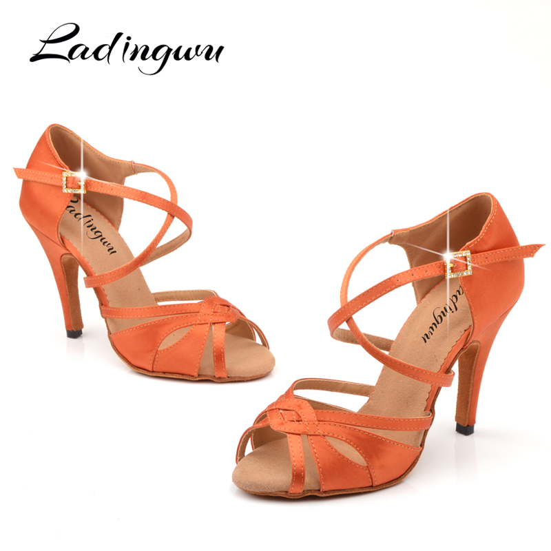 Ladingwu Red-brown Satin Salsa Dance Shoes Latin Women Dancce Sandals Indoor Soft Bottom Ballroom Dancing Shoes Rhinestone Buckl