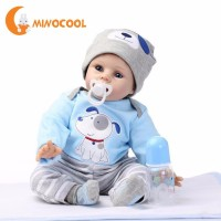 55cm Newest Reborn Doll Baby Simulation Silicone Full Body Reborn Dolls with Bottle Nipple Hat Fashion Doll Christmas Gift