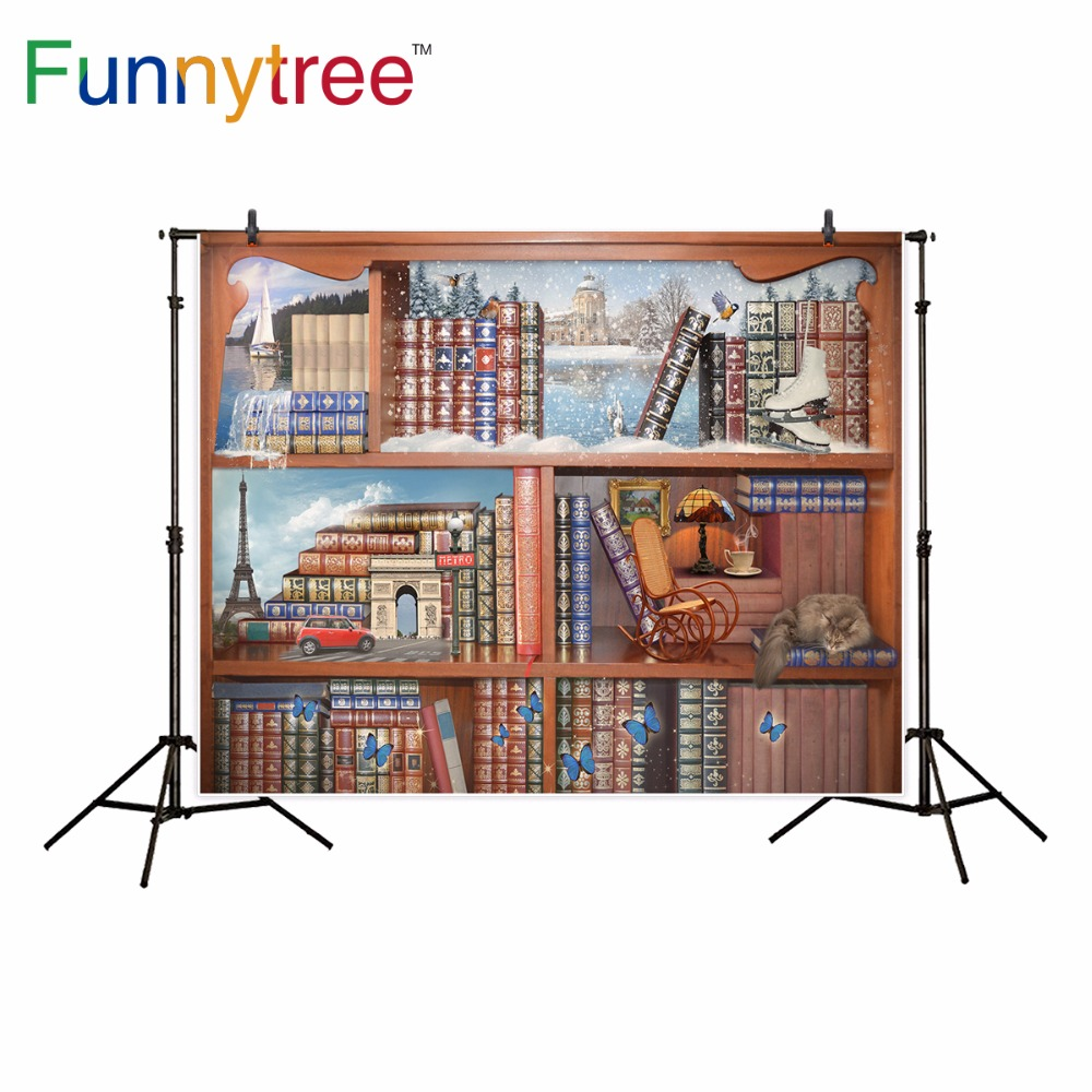 Funnytree Fairy Tale Photography Backdrop Bookshelf Landscape World Travel  Butterfly Architecture Photo Background In Background From Consumer  Electronics ...