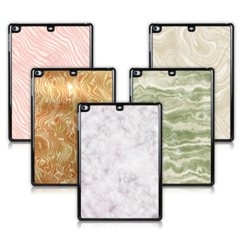 BTD White Marble Pattern Hard Black Case for ipad air Simple Plastic Tablet Cover for ipad 5 Free Screen Protector