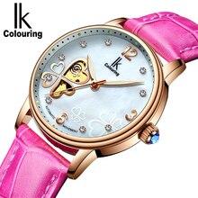 IK Lucky 2018 Clover New Fashion Genuine Leather Womens Watch OL Lady Diamond Automatic Mechanical Watches Women Reloj femenino