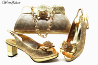 Latest Gold Shoes With Clutch Bag For Lady,Matching Shoes and Bag Set Decorated with Colorful Rhinestone Best Quality E812 26