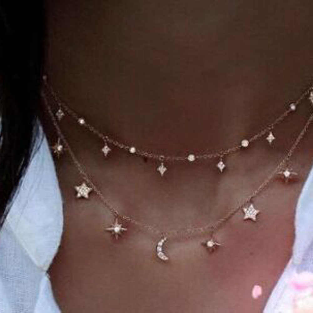 Star And Crescent Moon Charm Choker Chain Necklace Women Jewelry