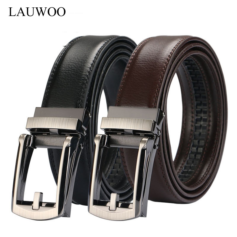 LAUWOO Men Belt Designer Cow Genuine Leather Belts Man Automatic Buckle Cowhide Belts Luxury Black/Brown