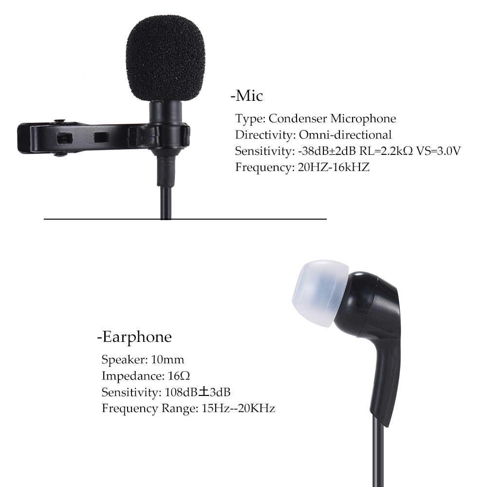 Andoer Clip-on Microfono Lavalier Mic del Trasduttore Auricolare 3.5mm Jack Mini Condensatore per Smartphone PC Laptop Altoparlante Streaming In Diretta cantare