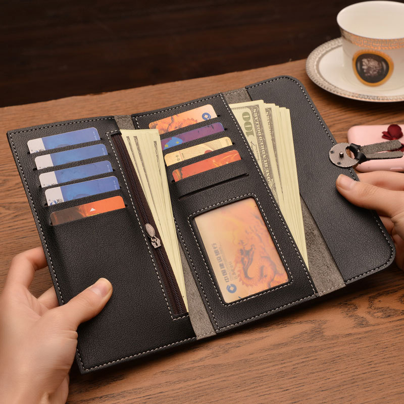 New Lady Wallet Buckle Multi Card Soft Leather Clip Card Pack Large Volume Beautiful Generous Minimalist