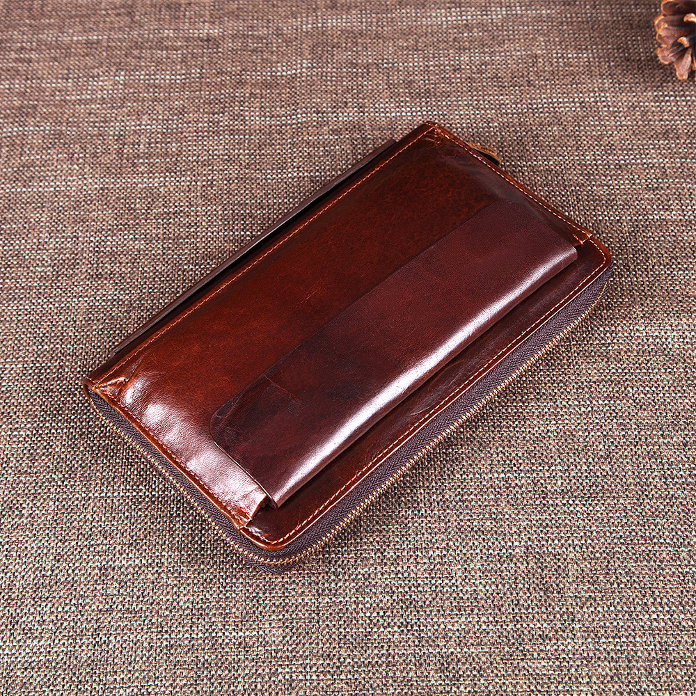 Genuine Leather Men Vintage Design Wallets Male Business Zipper
