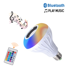 Wireless Remote Control Music Light Bulbs LED Bluetooth  7+3W 110V-265V Color Changing Bulb RGB+White Sound