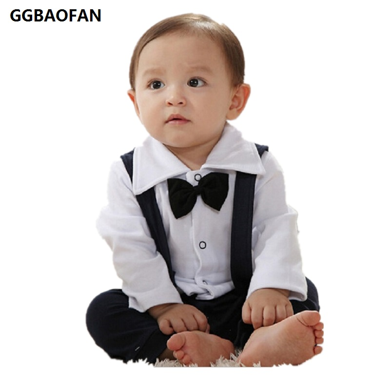 GGBAOFAN childrens Rompe clothes Hot boys leotard Fashion cute collar long-sleeved Romper gentleman type Bow tie decoration