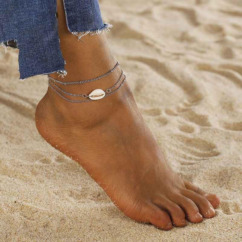Proste naturalne powłoki Anklet 2018 czeski lato bransoletka plażowa dla kobiet kolor srebrny podwójna warstwa biżuteria na stopy hurtownie