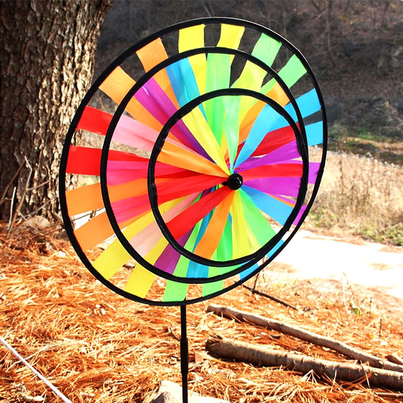 Lawn Garden Yard Decor Outdoor New Windmill Kids Playing 22in Triple Wheel Rainbow Spinner