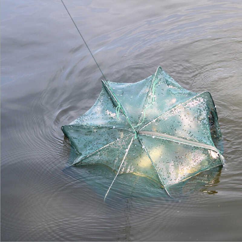ใหม่แบบพกพา 6 หลุมพับหกเหลี่ยมตกปลาสุทธิเครือข่ายหล่อCrayfish Catcherกับดักปลากุ้งCatcherถังกรงตาข่ายตาข่าย