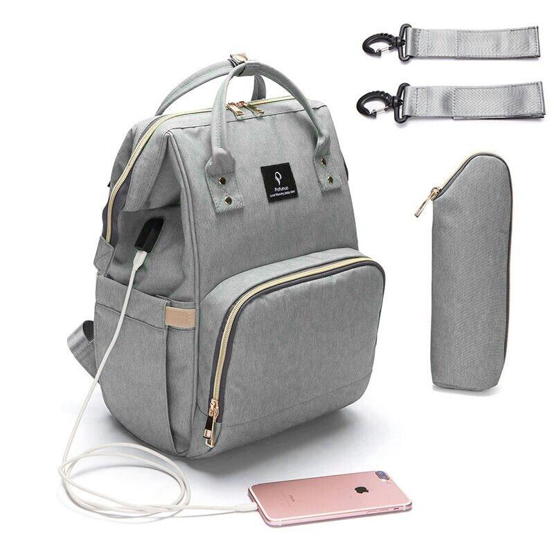 Windel Tasche USB Große Kapazität Windel Tasche Wasserdichte Mutterschaft Reise Rucksack Designer Pflege Tasche Baby Pflege Kinderwagen Handtasche