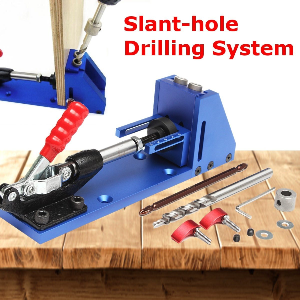 Oblique Pro-Pocket Hole Jig Drill Guide Joinery Woodworking Tool Kit + Drilling Bit Wood For Kreg lant-hole Drilling System