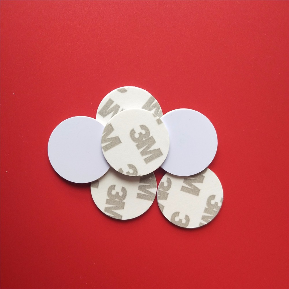 100Pcs/Lot Rewritable 125KHZ T5577 Chip RFID Coin Card Copy Clone Card with 3M Adhensive Sticker Waterproof 25mm