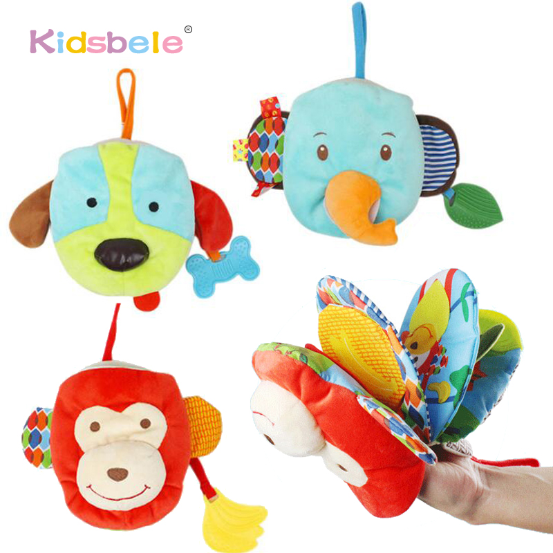 Baby Soft Toys Animals Book Hand Puppet Multi-Function Intelligence Development Learning Toy Newborn Colorful Cloth Books