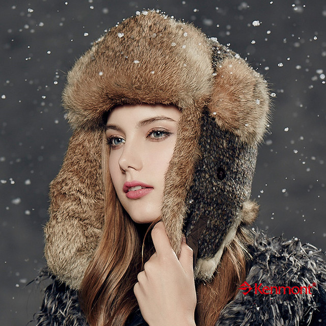 Kenmont Winter Women Outdoor Warm Ski Hat Wool Natural Rabbit Fur Trapper Aviator Earflap Bomber Russia Cap 2307