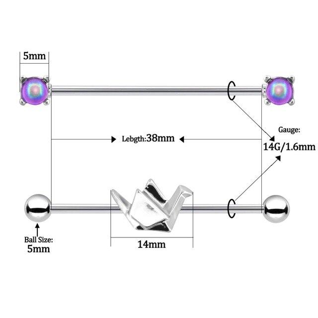 Купить серьги из хирургической стали для прокола тела 14g 2 шт/компл