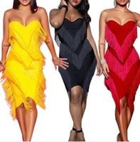 Tassel strapless Party Dresses Women 2019 Autumn Sexy Dress Mini Bodycon Fringe Dress Elegant Vestidos 3 colors