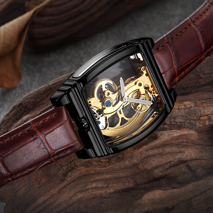 HTB1CSAHSCzqK1RjSZFLq6An2XXaS Transparent Automatic Mechanical Watch Men Steampunk Skeleton Luxury Gear Self Winding Leather Men's Clock Watches montre homme