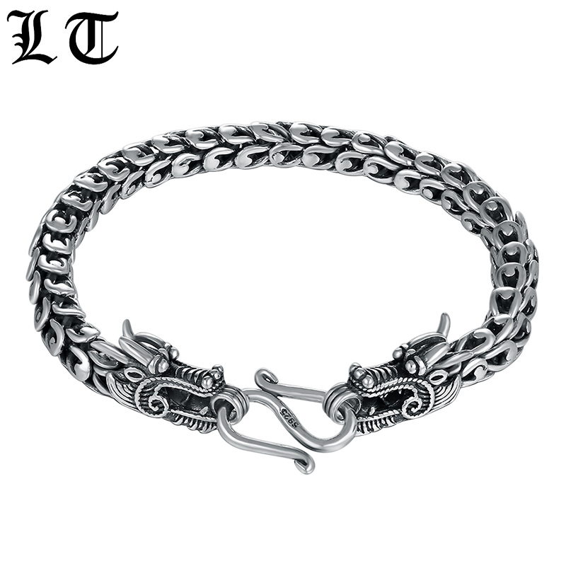 Solid 925 Sterling Silver Couple Dragon Bracelet Men Vintage Punk Rock High Polished Bracelets Biker Gothic Jewelry For Male 925 sterling silver bracelets for men skull bracelet vintage punk rock gothic bague fashion men cool exaggerated fine jewelry