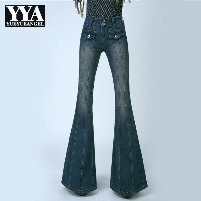 b89f70e3444 Retro Women Plus Size High Waist Slim Fit Jeans Female Bell Bottom Bootcut Trousers  Fashion Ladies Wide Leg Jeans Pants Pockets