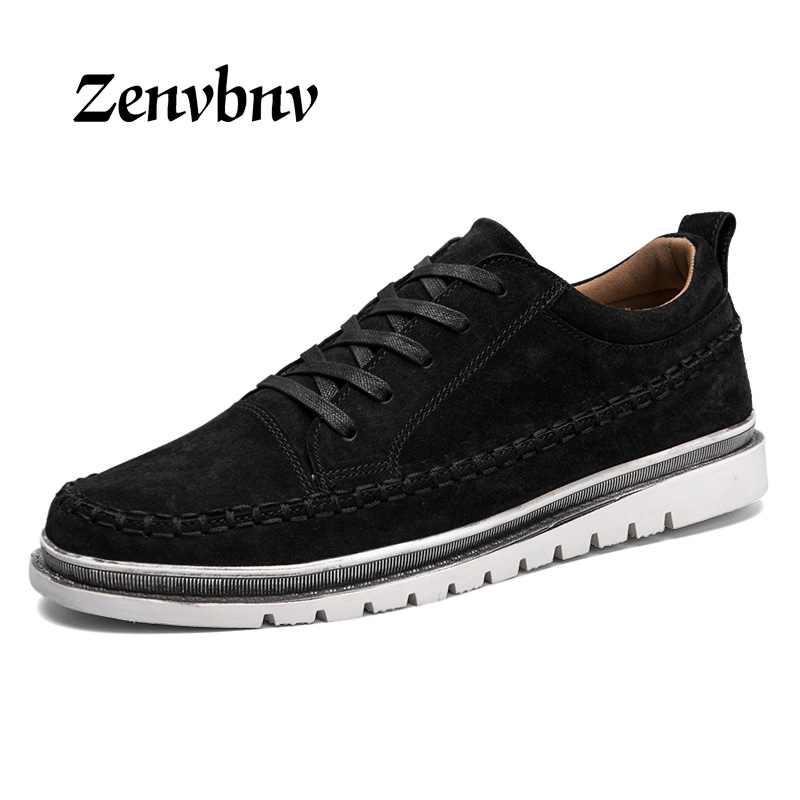ZENVBNV Big Size Flats Shoes High Quality Genuine Leather Men Casual Shoes Fashion Breathable Male Shoes Real Leather Men Flats bimuduiyu trend casual shoes for men fashion light breathable lace up male shoes high quality suede leather black flats shoes