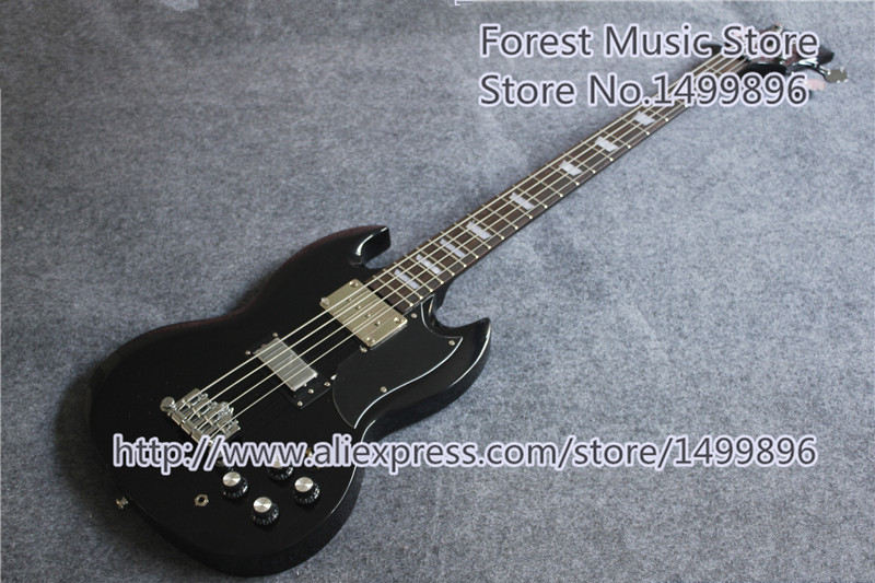 High-quality Black Electric Bass Guitar 4 String SG Bass Guitar China Rosewood Fingerboard In Stock high quality custom shop lp jazz hollow body electric guitar vibrato system rosewood fingerboard mahogany body guitar