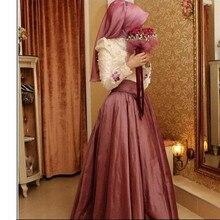 Elegant Pearls Long Sleeve Islamic Evening Dresses 2016 Lace Applique Taffeta Muslim Vestidos De Fiesta Formal Dress Party Gowns