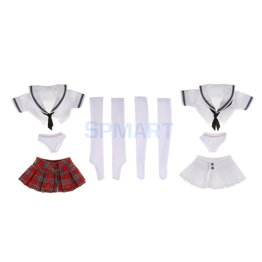 2 Sets 1/6 Scale Student Uniform Sailor Shirt Miniskirt Set for 12' Female Action Figure Accessories Phicen Kumik Hot Toys цена