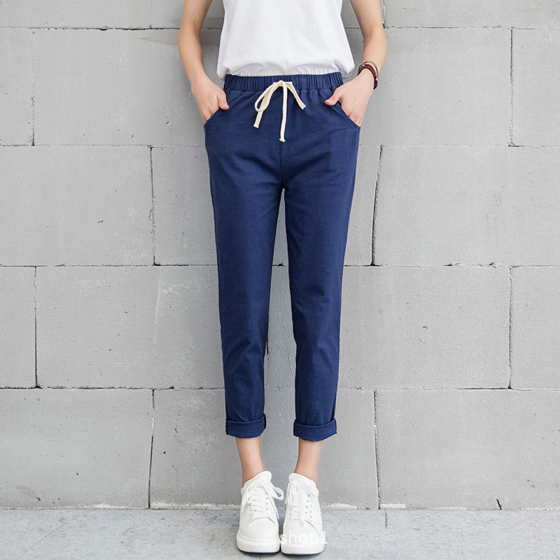New Women Casual Harajuku Spring Autumn Long Trousers Solid Elastic Waist Cotton Linen Pants 23