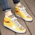Bbk 2017 nuevo llegan los niños de moda shoes niños cómodos ocasionales zapato de color amarillo niños niñas pisos tienen el tamaño adulto 34-46 B *