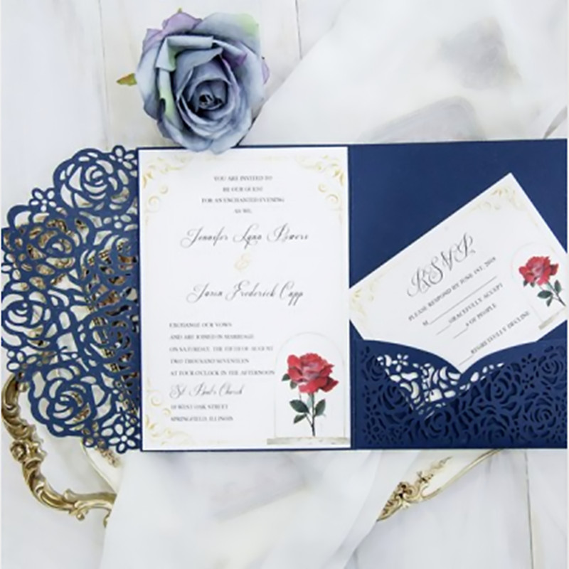 wedding invitation card with RSVP card envelo pocket p tri ...
