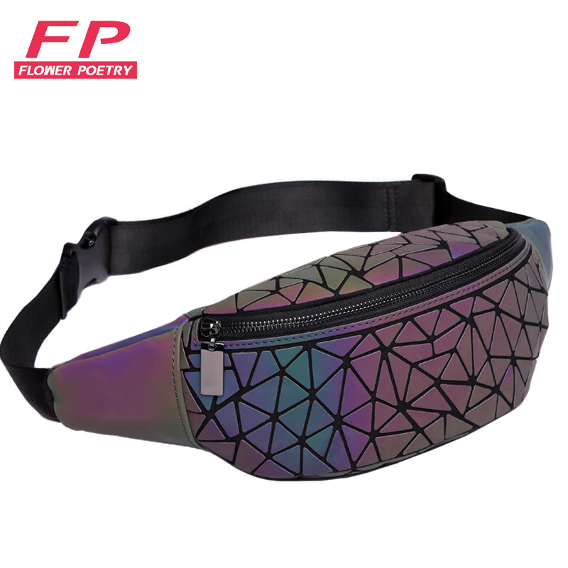 Fashion Luminous Waist Bags Women Waist Fanny Packs Belt Bag Luxury Brand Chest Handbag Geometry Waist Packs Mobile Phone Bag