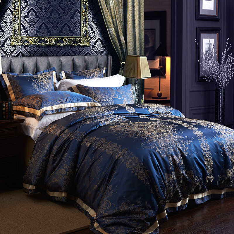 HS Luxury 4pcs Bedding Sets 100% 28 Momme Pure Long Stranded Mulberry Silk  Jacquard Satin European Style King Size Bedroom Set