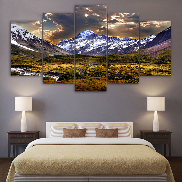 Painting Canvas Wall Art Pictures Home Decor 5 Pieces Sky Ice Mountain Grassland Natural Landscape For Living Room Poster Frames