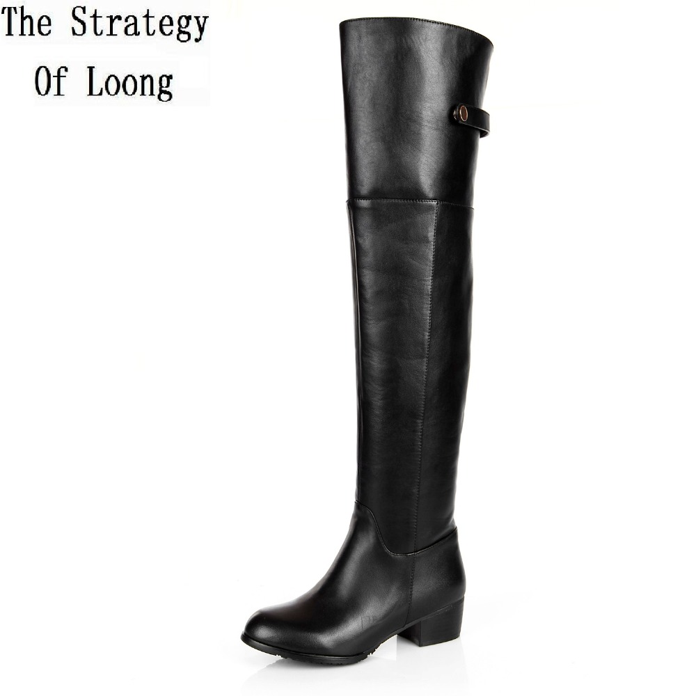Genuine Leather Women Winter Long Boots Over The Knee Buckle Low Heel Boots 2015 New Fashion Flat Boots Plus Size 34-45 SXQ1004 dijigirls new autumn winter women over the knee boots shoes woman fashion genuine leather patchwork long high boots 34 43