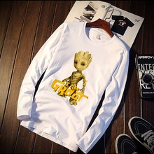 New Long Sleeve T Shirt Unisex Cute Baby Groot Avengers Heroer Print 100% Cotton Top Tee Casual O Neck Streetwear Clothing