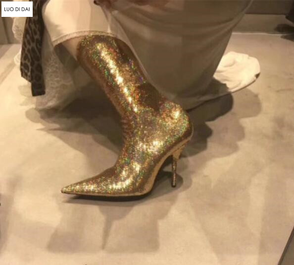 2019 women glitter boots bling bling sequin booties thin heel over knee  high boots ladies party shoes elastic sock booties women-in Over-the-Knee  Boots from ... 7e818bc7b8d3