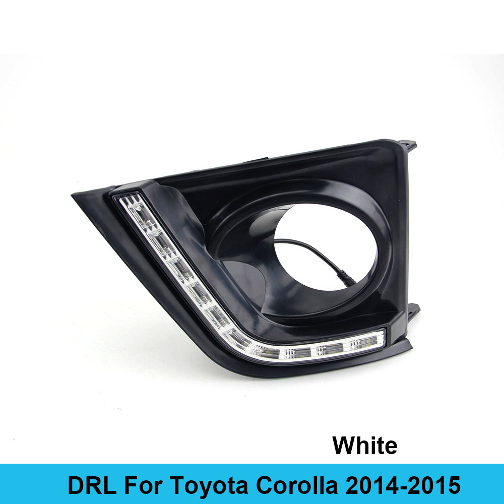 Car DRL kit for Toyota Corolla 2014 2015 LED Daytime Running Light Bar turn signal fog lamp bulb daylight car led drl light 12V special car trunk mats for toyota all models corolla camry rav4 auris prius yalis avensis 2014 accessories car styling auto