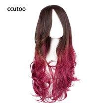 """Ccutoo Женская партия 70 см/27."""" красно-коричневый Ombre вьющиеся полный Синтетические чёлки волос Синтетические волосы Косплэй Costume wig for harajuku"""