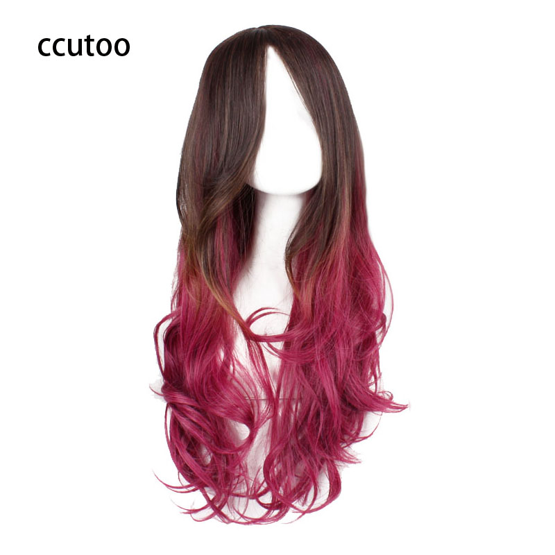 ccutoo Ladys Party 70cm/27.5 Red Brown Ombre Curly Full Bangs Synthetic Hair Cosplay Costume Wig For Harajuku