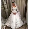 Vestidos De Noiva Sereia Romantico Boda con las Mangas Largas 2016 Vestido Elegante Blanco Casado