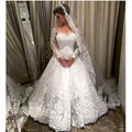 Vestidos De Noiva Sereia Romantico Wedding Dresses with Long Sleeves 2016 Elegant White Married Dress