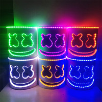 HOT LED Light Marshmello DJ Mask Halloween Cosplay Full Head Helmet Colorful Luminous Mask Nightclub Concert Party Dress UP Prop