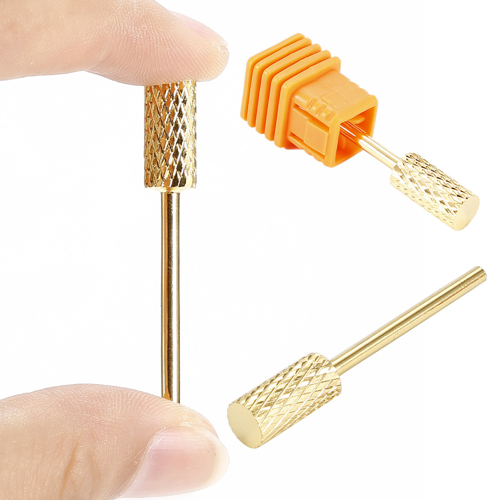 High quality 1pcs nail art salon tools gold color nail drill bit mill file for nail art electric drill manicure machine Accessor