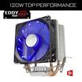 ALSEYE 2 тепловых трубок 90 мм вентилятора CPU cooler Алюминиевый радиатор TDP 120 Вт LED вентилятор радиатора для intel и AMD