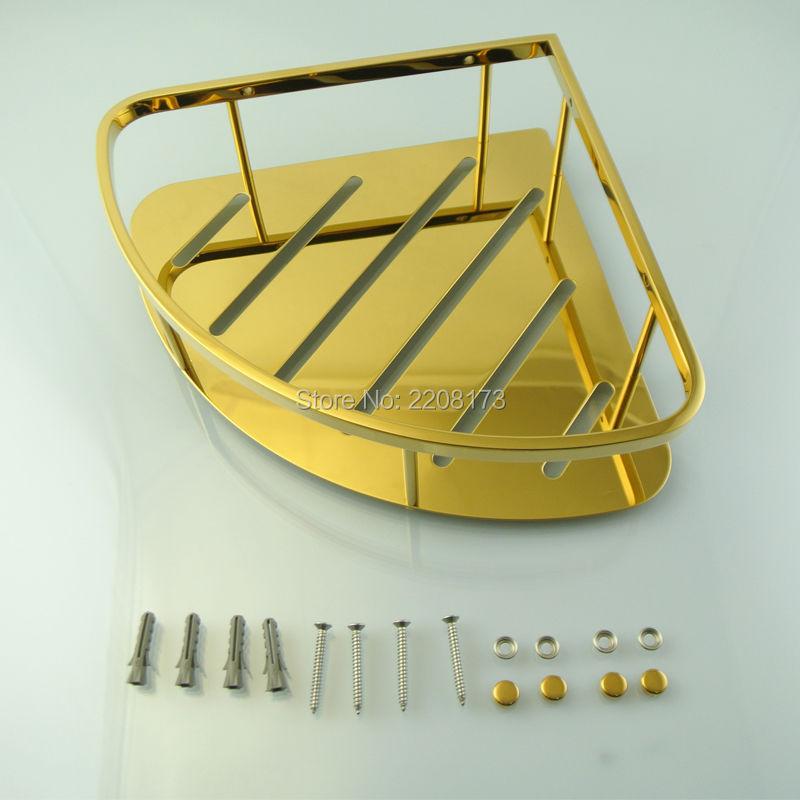New High Quality Golden SUS304 Stainless steel Hanging Shower Caddy Bathroom Corner Shower Storage Rack Shelf Organiser Basket