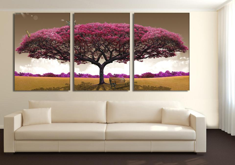 3 pieces art oil canvas romantic wall art tree picture canvas ...