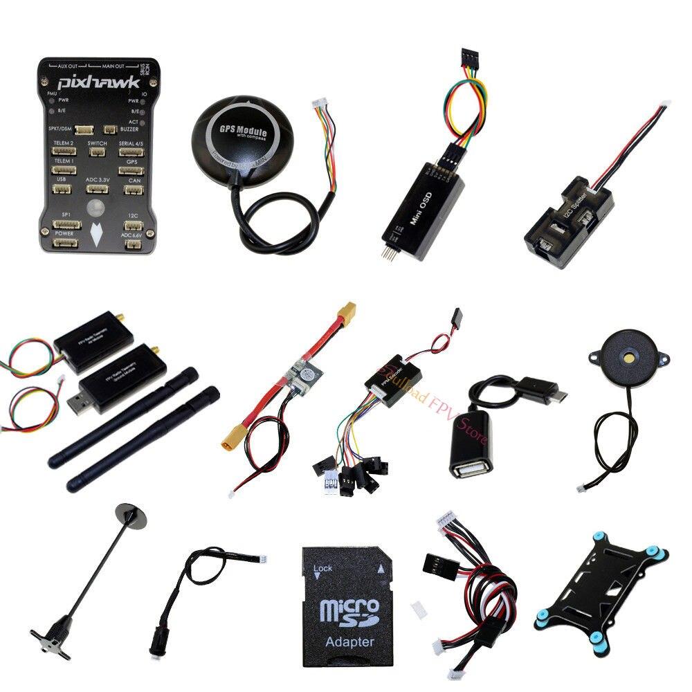 Pixhawk PX4 PIX 2.4.8 32 poco controlador de vuelo + NEO M8N GPS + 433/915 telemetría + Minim OSD + PM + interruptor de seguridad + alarma + PPM + I2C módulo-in Partes y accesorios from Juguetes y pasatiempos    1